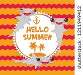 hello summer cartoon gray... | Shutterstock . vector #1211949412