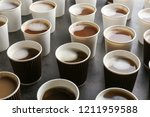 many plastic cups with tasty... | Shutterstock . vector #1211959588