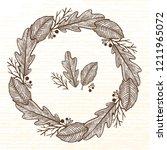 autumn wreath of forest... | Shutterstock .eps vector #1211965072