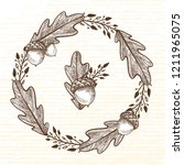 autumn wreath of forest... | Shutterstock .eps vector #1211965075