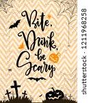 bite. drink be scare. haloween... | Shutterstock .eps vector #1211968258