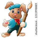 cartoon rabbit painter holding... | Shutterstock . vector #1211998885