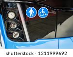 front lights bus with symbols... | Shutterstock . vector #1211999692