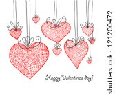 doodle textured hearts baubles... | Shutterstock . vector #121200472