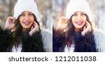 young woman winter portrait... | Shutterstock . vector #1212011038