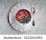 yoghurt with berries ... | Shutterstock . vector #1212011092
