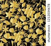 golden flowers on black... | Shutterstock . vector #1212034678