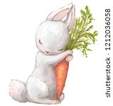 Stock photo little hare with carrot 1212036058