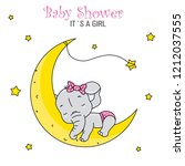 baby shower girl. cute elephant ... | Shutterstock .eps vector #1212037555