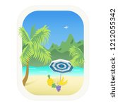 seascape with palm trees ... | Shutterstock .eps vector #1212055342