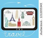 travel and tourism. a vector... | Shutterstock .eps vector #1212055345