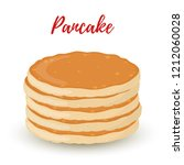 cartoon pile of pancakes ... | Shutterstock . vector #1212060028