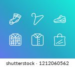 cloth icon set and plaid with...