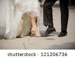 legs of wedding couple in dirty ... | Shutterstock . vector #121206736