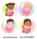 set of round user pics with... | Shutterstock .eps vector #1212070885