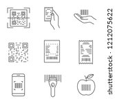 barcodes linear icons set. qr... | Shutterstock .eps vector #1212075622