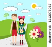 boy and girl   man and woman on ... | Shutterstock .eps vector #1212078082