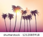 los angeles skyline with palm... | Shutterstock .eps vector #1212085918
