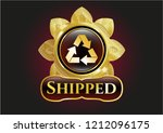 golden badge with recycle icon ... | Shutterstock .eps vector #1212096175