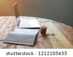 laptop with tablet notepad or... | Shutterstock . vector #1212105655