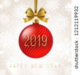 holiday red bauble with glitter ... | Shutterstock .eps vector #1212119932