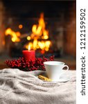 cup of hot drink with cookie... | Shutterstock . vector #1212159502