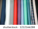 colorful fabric and stripy... | Shutterstock . vector #1212166288