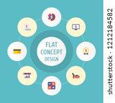 set of analytics icons flat... | Shutterstock .eps vector #1212184582