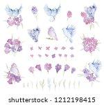 gentle bouquets with pink... | Shutterstock . vector #1212198415