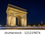 arc de triomphe at night in... | Shutterstock . vector #121219876