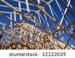 New home being built and detail of construction site - stock photo