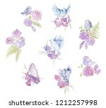 gentle bouquets with pink roses ... | Shutterstock . vector #1212257998