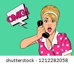 Surprised Blonde Woman On Retr...