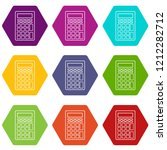calculator icons 9 set coloful...