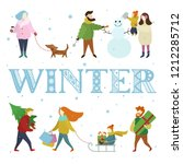 vector christmas winter card... | Shutterstock .eps vector #1212285712