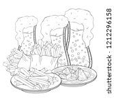 coloring bread croutons and... | Shutterstock .eps vector #1212296158