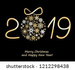 christmas greeting card 2019... | Shutterstock . vector #1212298438