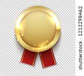 gold badge. golden realistic...   Shutterstock .eps vector #1212298462