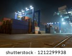industrial port with containers.... | Shutterstock . vector #1212299938