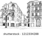old city street in hand drawn... | Shutterstock .eps vector #1212334288