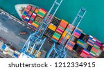 aerial top view crane shipping... | Shutterstock . vector #1212334915