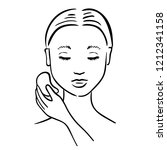 gua sha facial massage. woman... | Shutterstock .eps vector #1212341158