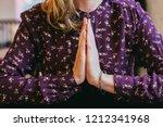 woman's namaste hands | Shutterstock . vector #1212341968