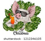 vector cute pig in palm leaves. ... | Shutterstock .eps vector #1212346105