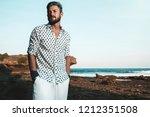 portrait of handsome fashion... | Shutterstock . vector #1212351508