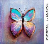 Stock photo oil painting of blue butterfly 1212353938