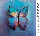 Stock photo oil painting of blue butterfly 1212355045