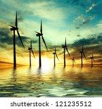 eco power  wind turbines | Shutterstock . vector #121235512