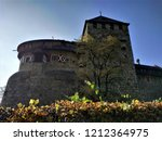 hedge and castle in the city of ... | Shutterstock . vector #1212364975