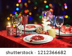 beautiful table setting for... | Shutterstock . vector #1212366682